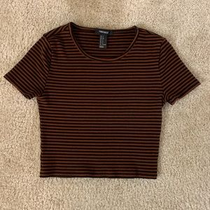 Red Black Stripe Crop Top Size Small